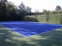 Tennis court construction with screened planting